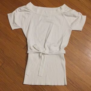 Sweaters - White Short Sleeve Tie Sweater Size M